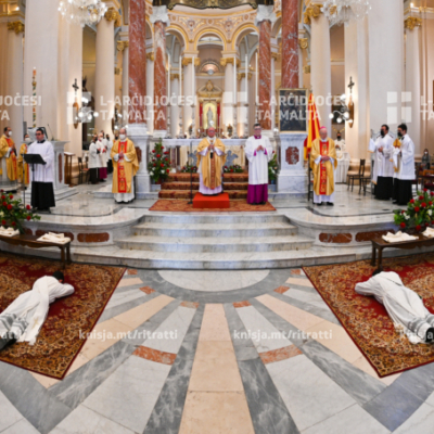 Ordinazzjoni presbiterali ta' Dun Roderick Baldacchino, Dun Joshua Cortis, Dun Jean Claude Schembri, u Patri Mark Scicluna – 08/05/21
