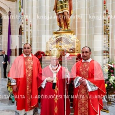 Quddiesa fil-festa liturġika ta' San Sebastjan f'għeluq il-75 sena mill-miġja tal-istatwa, fil-knisja parrokkjali ta' San Sebastjan, Ħal Qormi – 20/01/19