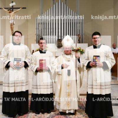 L-Arċisqof jagħti l-Ministeru tal-Lettorat lil tliet seminaristi, fis-Seminarju tal-Arċisqof, Tal-Virtù – 04/03/19