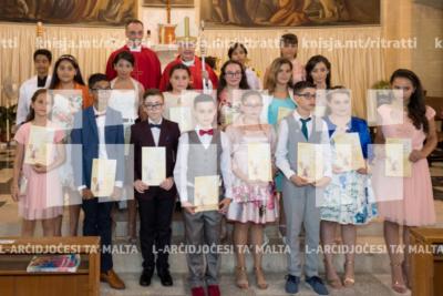 L-għoti tas-Sagrament tal-Griżma tal-Isqof lill-adolexxenti tal-parroċċa tal-Madonna ta' Lourdes, Raħal Ġdid – 30/06/19