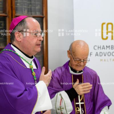 L-Isqof Awżiljarju ċċelebra Quddiesa b'suffraġju tal-Prim Imħallef Mifsud Bonnici, fil-Kamra tal-Avukati, il-Belt Valletta – 26/02/20