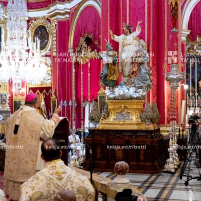 L‑Arċisqof iċċelebra Quddiesa pontifikali fil‑Knisja Parrokkjali tas‑Salvatur, Ħal Lija – 06/08/20