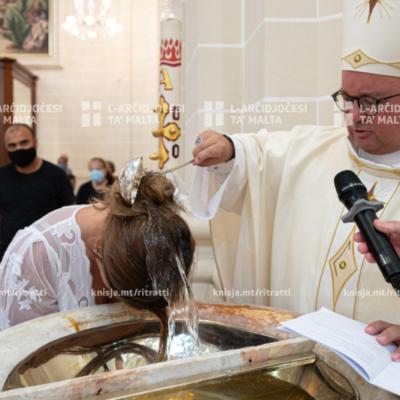 Quddiesa bis-Sagrament tal-Magħmudija, fil‑Knisja Parrokkjali tal‑Madonna tad‑Duluri, San Pawl il‑Baħar – 25/08/20