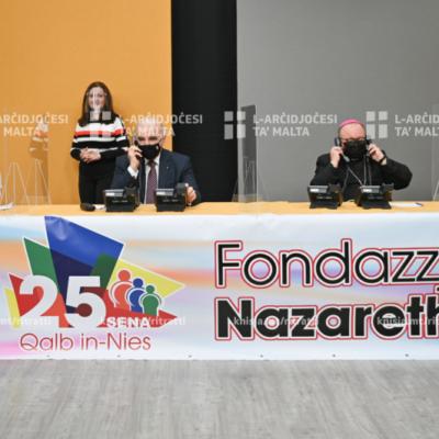 L‑Arċisqof waqt il-ftuħ tal‑maratona b'risq il‑Fondazzjoni Nazareth, f'One Studios, il‑Marsa – 28/02/21